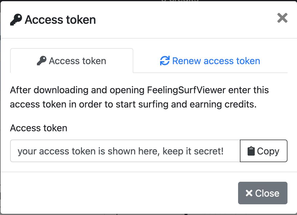 FeelingSurf access token