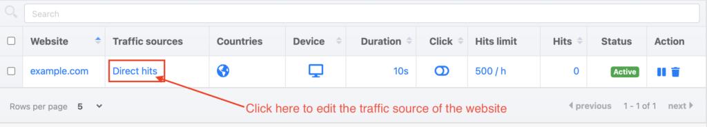 Edit website traffic sources
